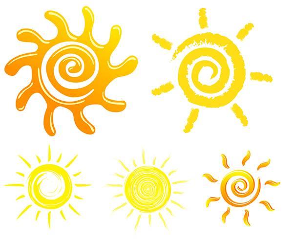 Абстрактные рисунки солнца в векторе - Векторный клипарт