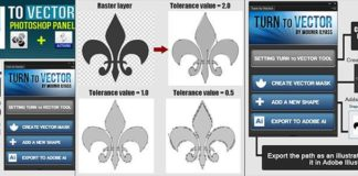 Панель + Экшен для фотошопа - Преобразование из Растрового рисунка в Векторный