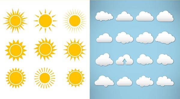 Векторный набор облако и солнце