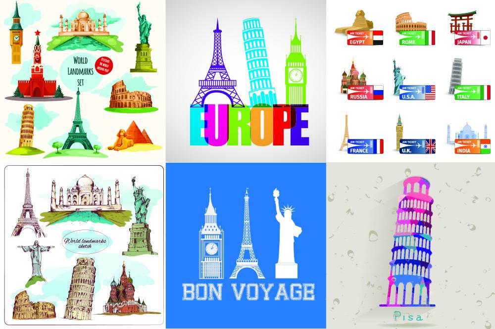 Набор векторных достопримечательностей красивых городов