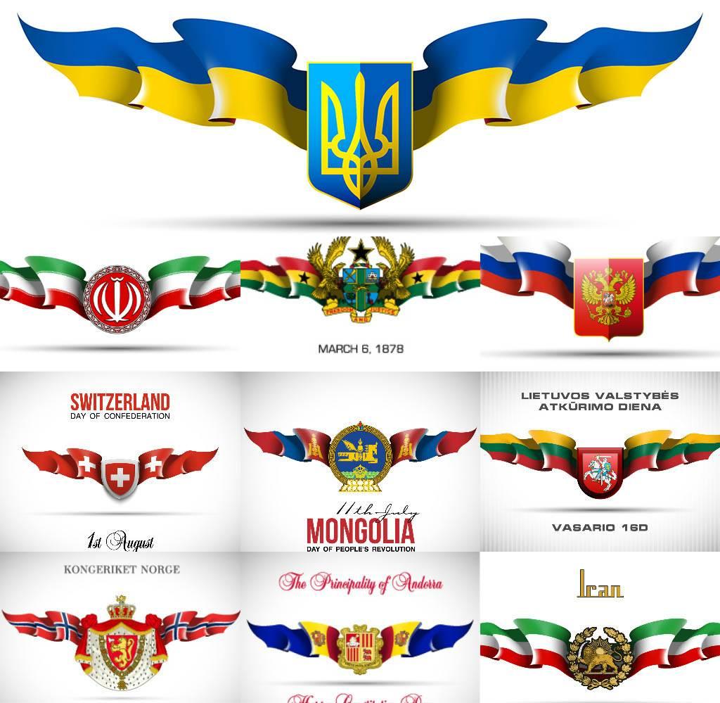 Баннерные ленты с флагами стран в векторе