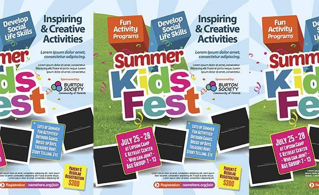 Подборка летних флаеров или афиш для фестевалий или детских лагерей