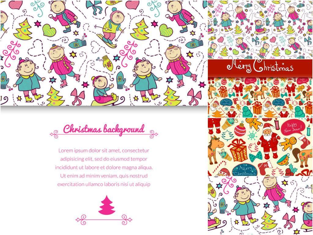 Векторные рождественские фоны из персонажей