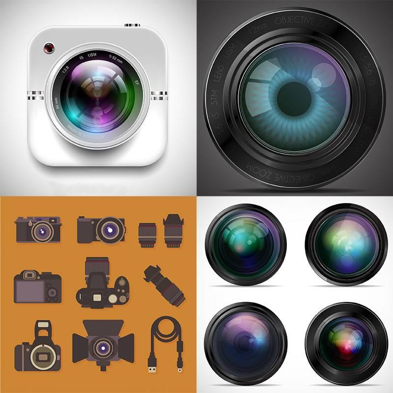 Набор векторных клипартов - объективы и фотоаппараты