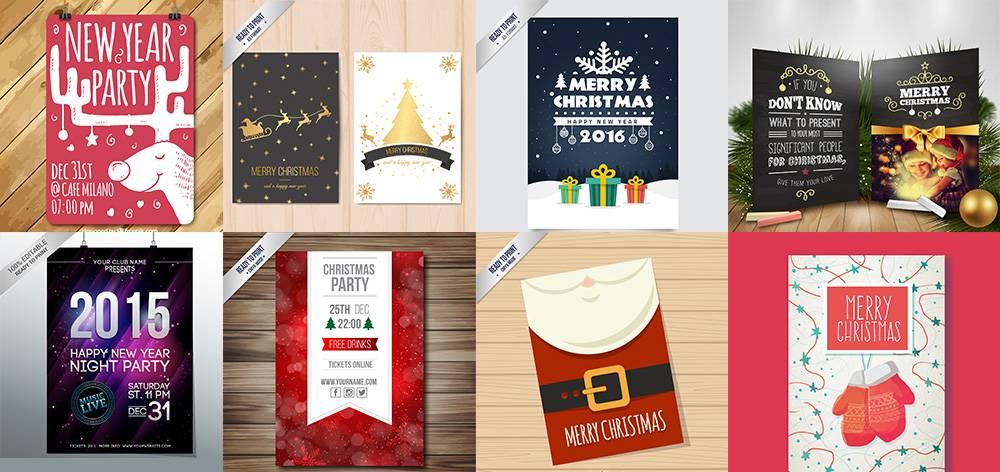 Набор новогодних (рождественских) флаеров и афиш в psd 3