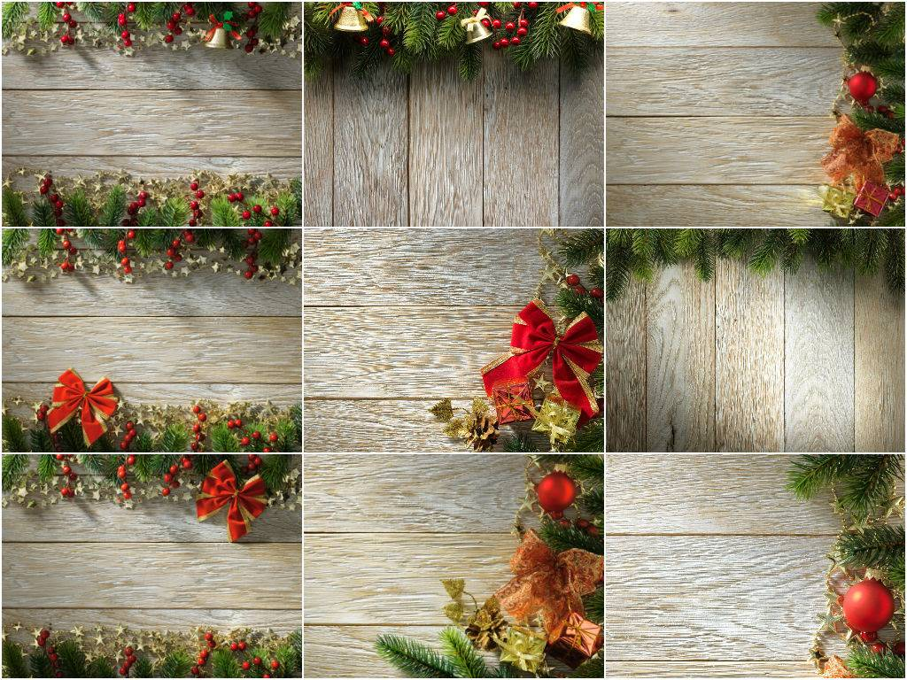 Растровые клипарты рождественских фонов - деревянные фоны с рождественским венком