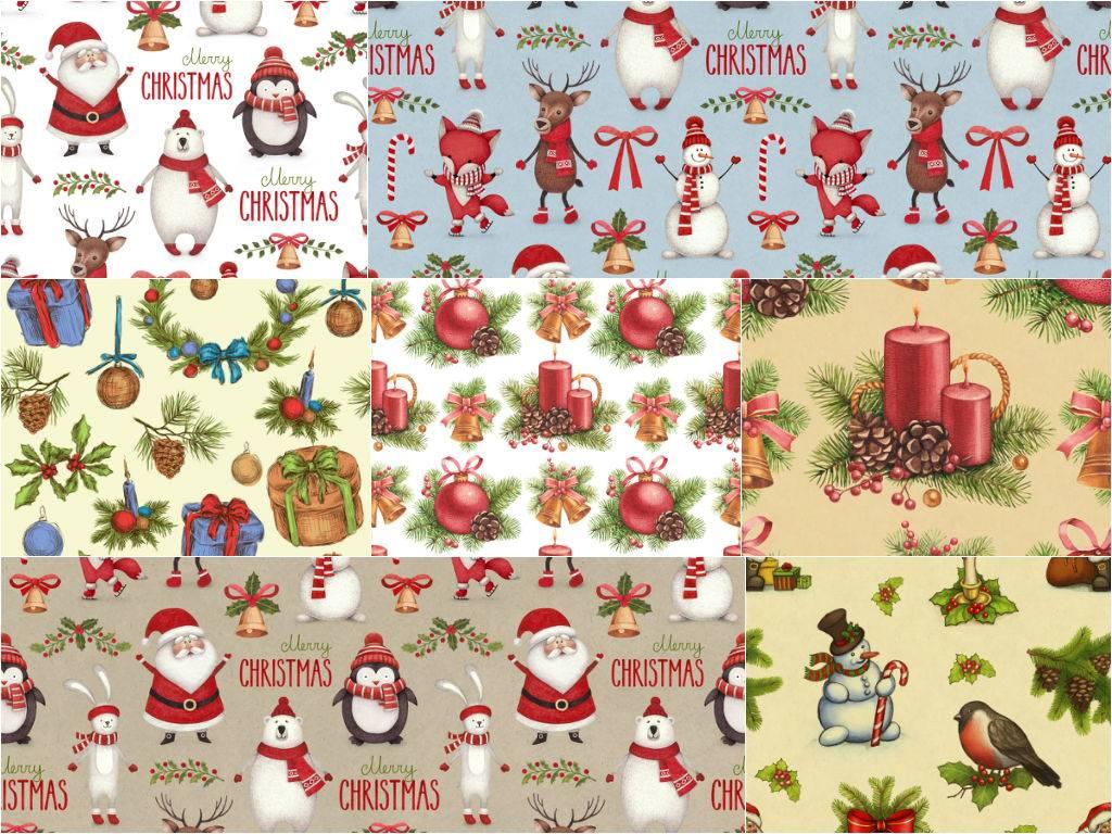 Растровый клипарт - набор рождественских фонов с персонажами