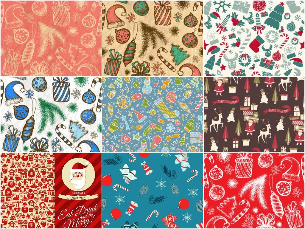 Рождественские фоны - векторные клипарты из новогодних атрибутов