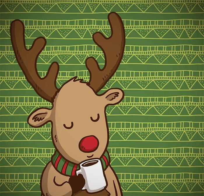 Рождественский олень с шарфом и кофе - векторный клипарт