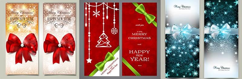 Векторные шаблоны новогоднихрождественских баннеров