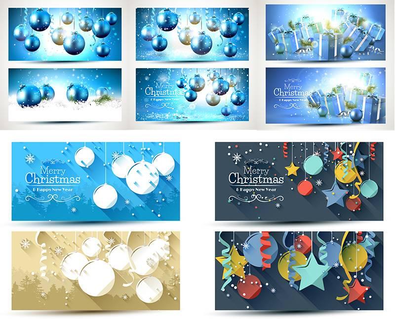 Векторные шаблоны новогодних\рождественских баннеров