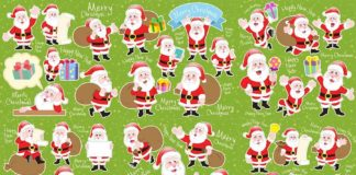 cute cartoon Santa Claus collection on green background