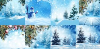 Зимние новогодние фоны - растровый клипарт