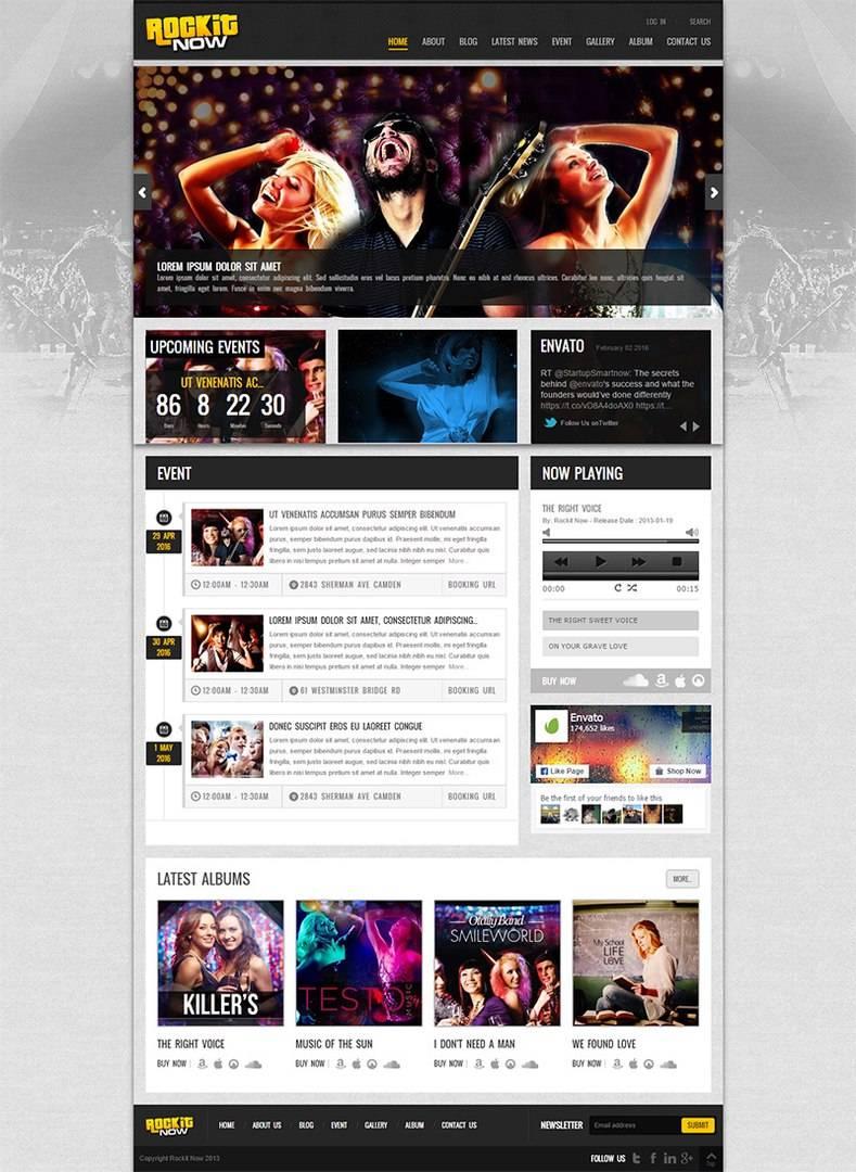 Шаблон для WordPress - Rockit Now v2.1 - Music Band