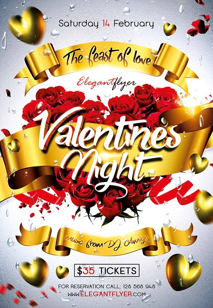 Афиша или Флаер ко дню святого Валентина