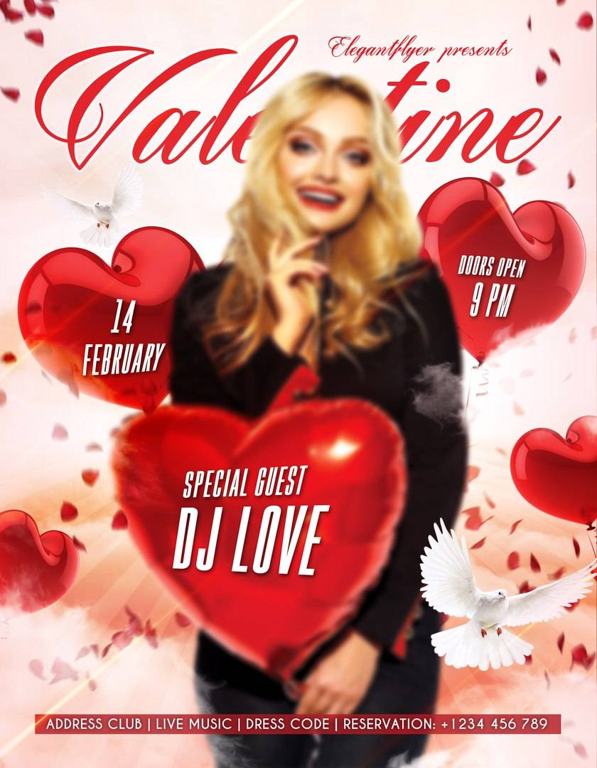 Шаблон Афиши -Флаера psd Valentine