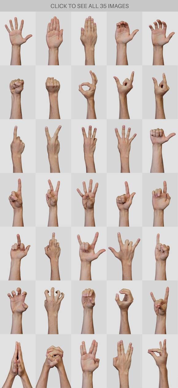 Растровый клипарт - Руки и Жесты на прозрачном фоне 3
