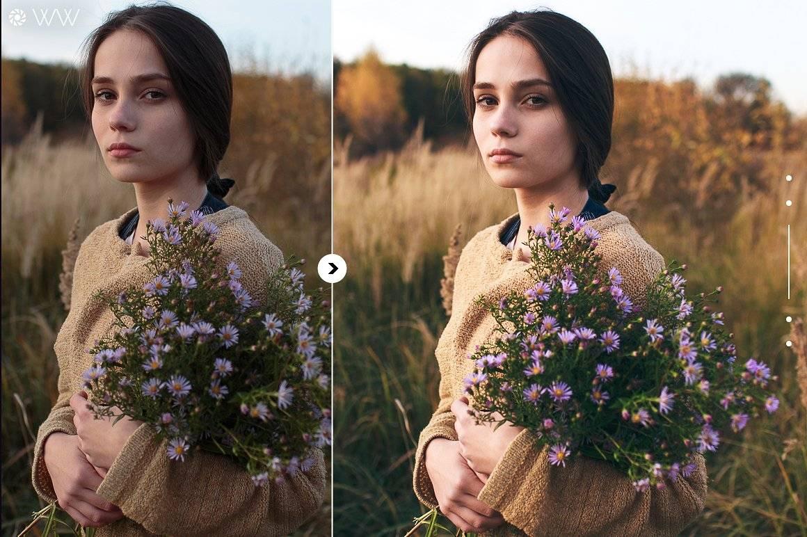 Пресеты для Lightroom - Лучшие портретные пресеты девушка в поле