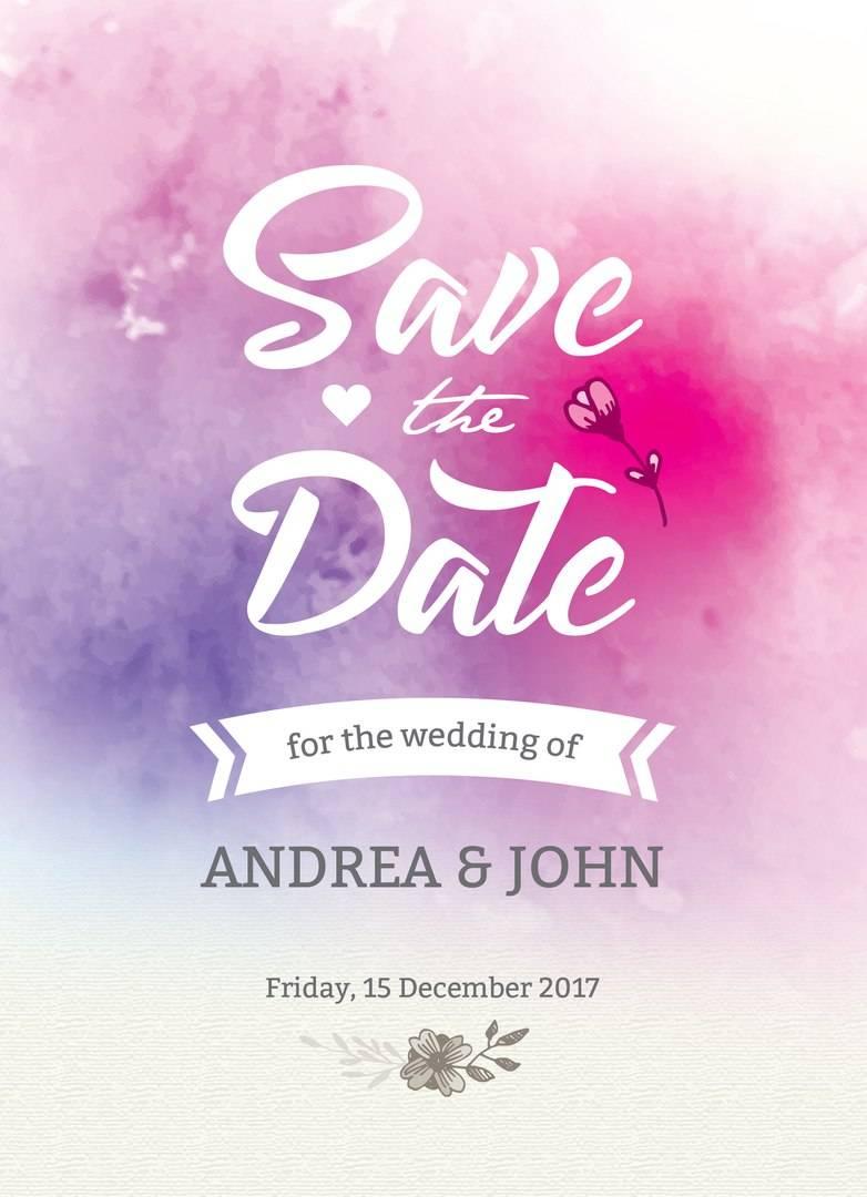 Акварельные краски - приглашение на свадьбу