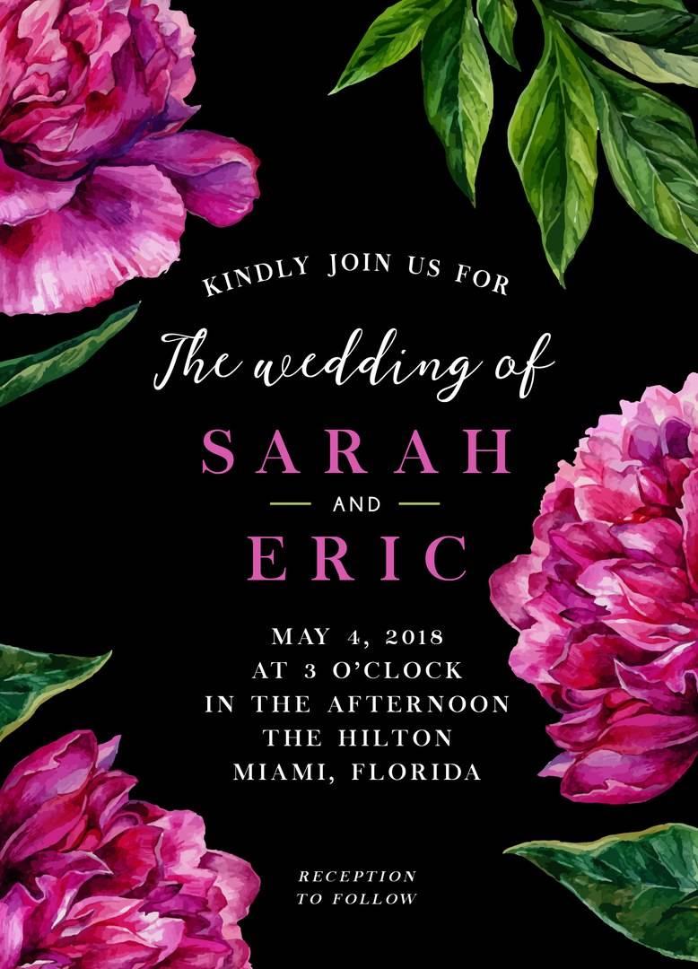 Черный фон и розовые цветы - приглашений на свадьбу