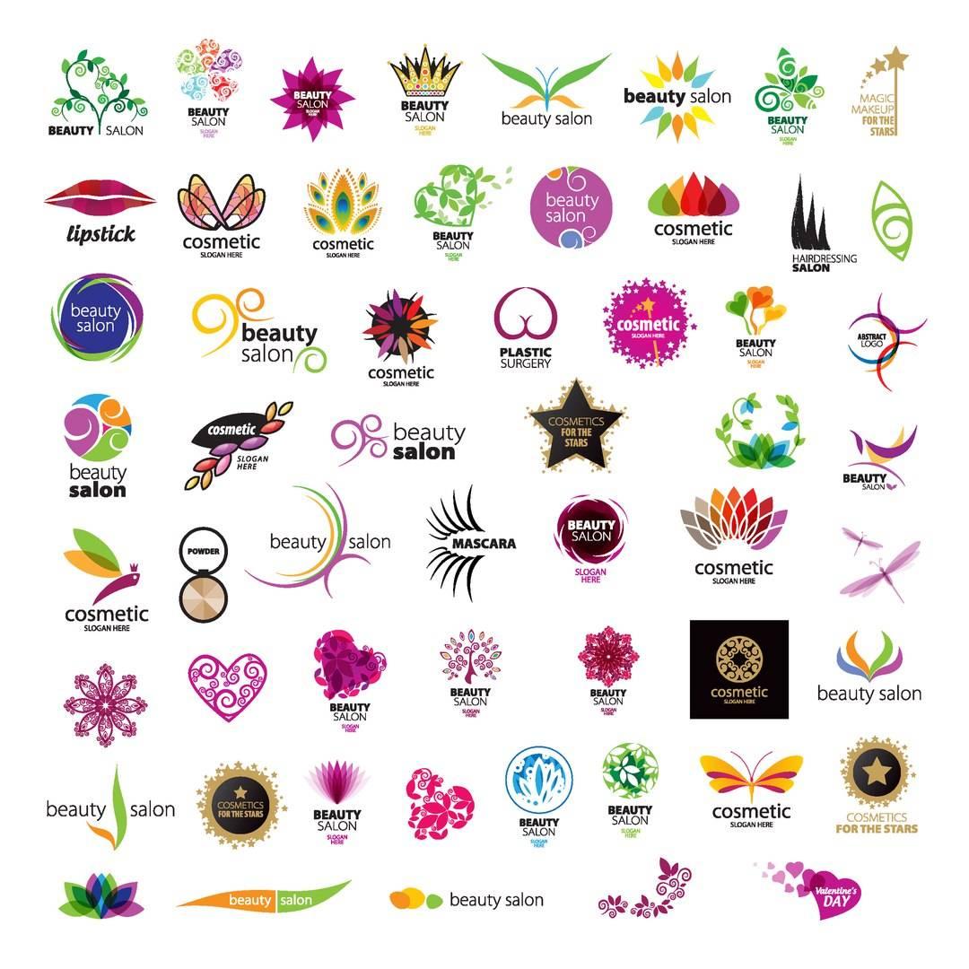 Логотипы салона красоты - набор psd и векторных исходников