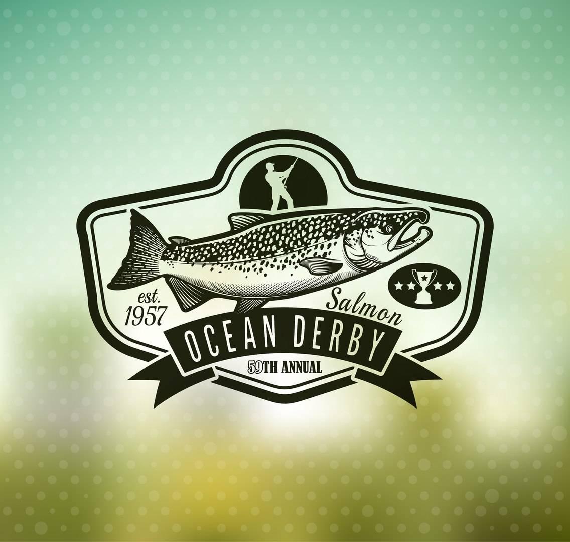 Набор лейб с рыболовными снастями и рыбами