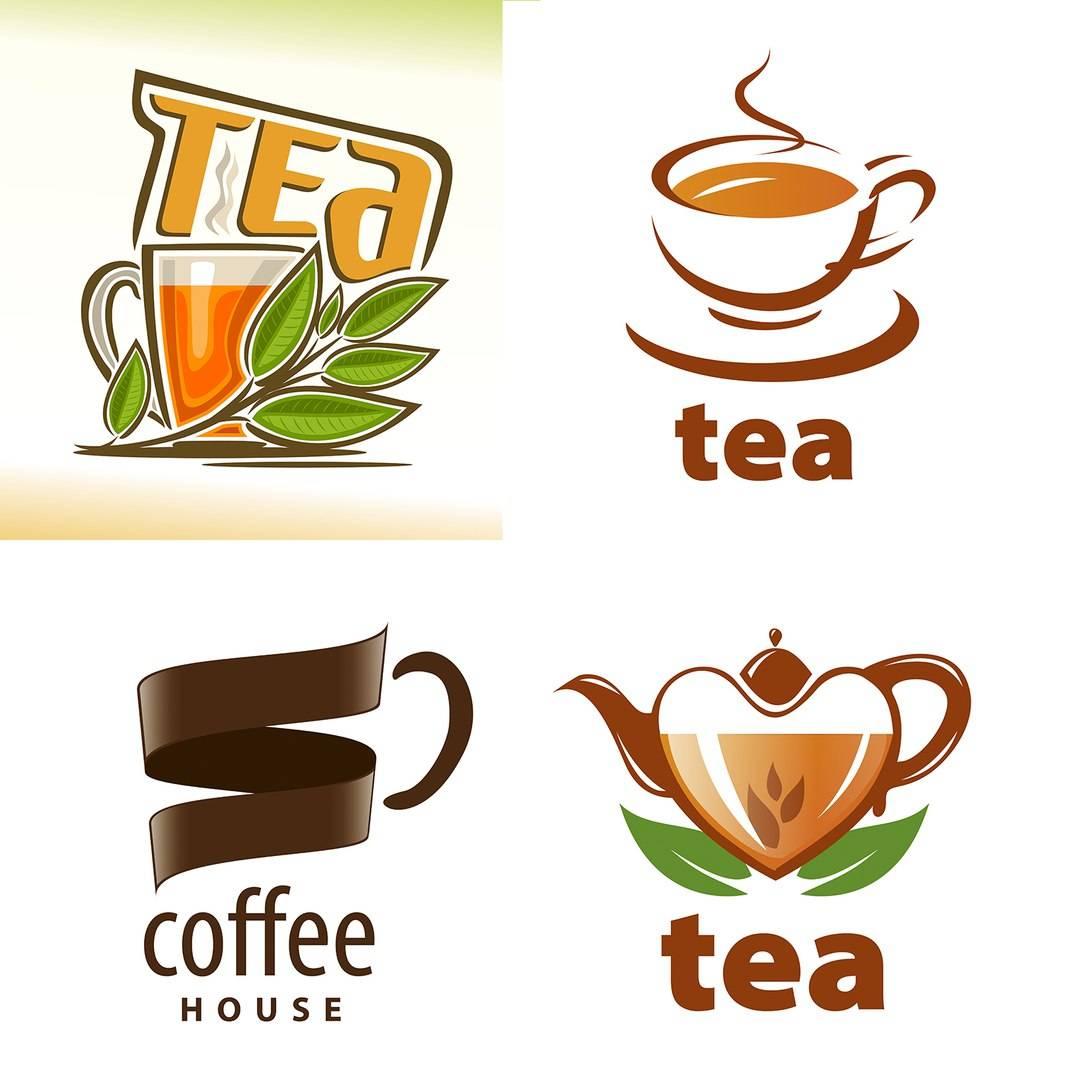 Набор логотипов для чая, кофе и кофейни