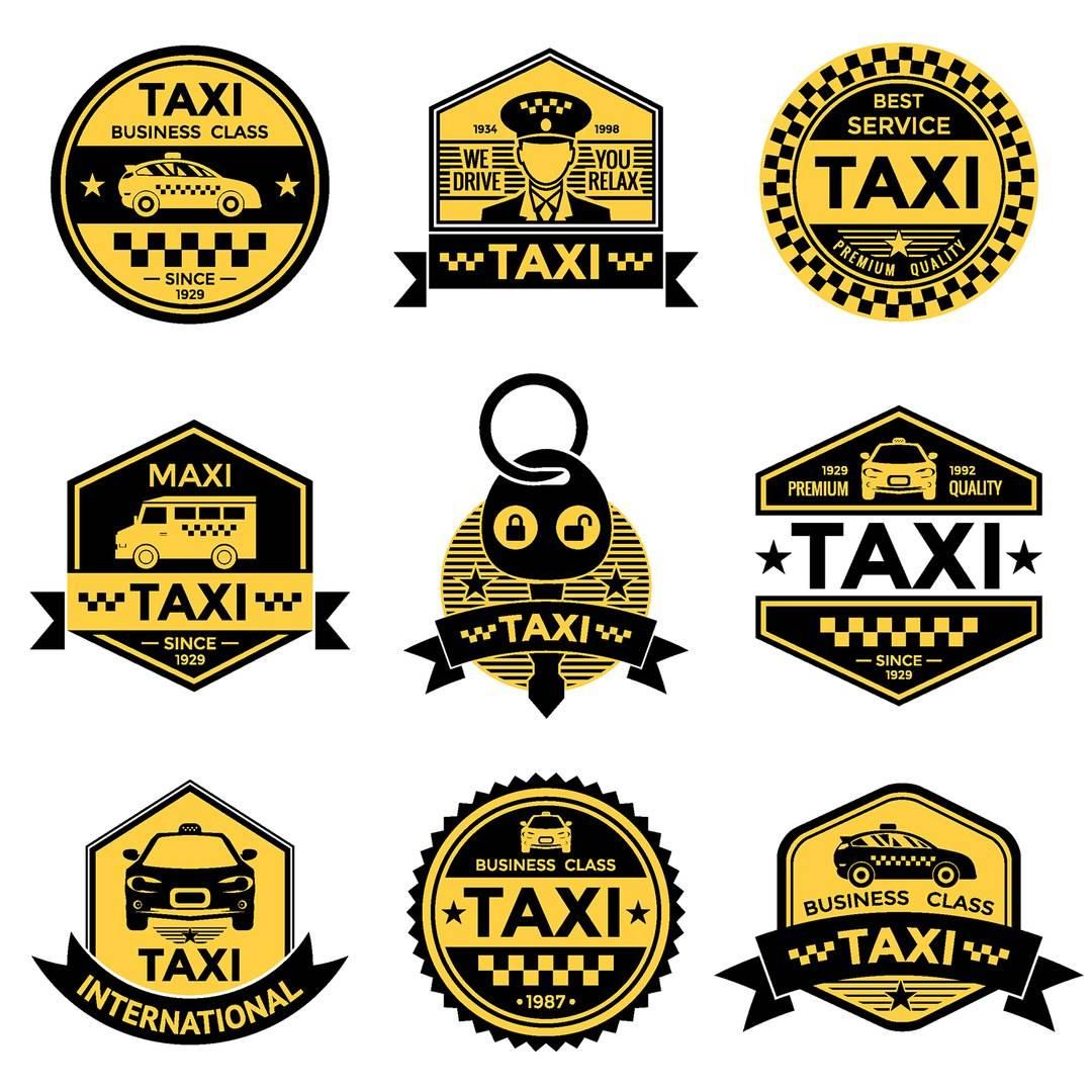 Набор логотипов для таксопарка в векторе