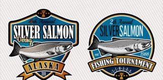 Набор логотипов и лейб с рыболовными снастями и рыбами