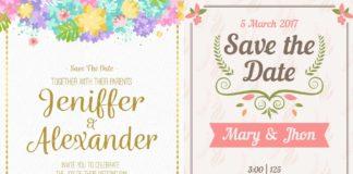 Набор шаблонов - винтажных пригласительных на свадьбу