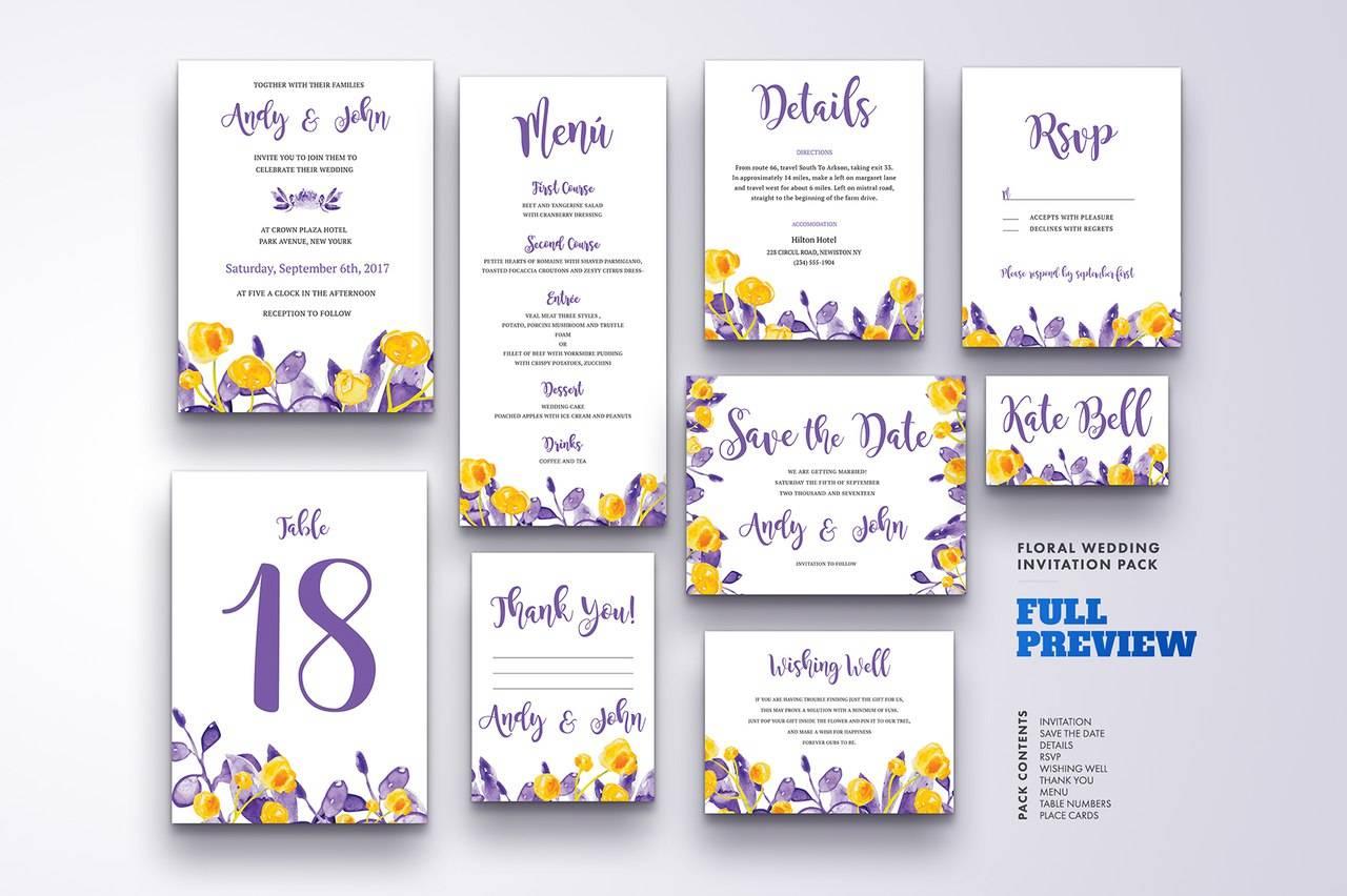 Оформления приглашения на свадьбу с цветами - полный набор