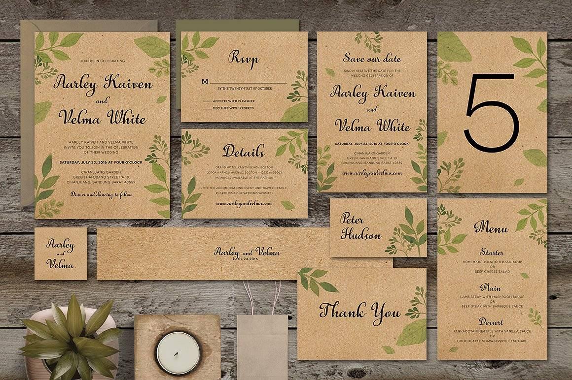 Полный набор пригласительных на свадьбу со всеми элементами
