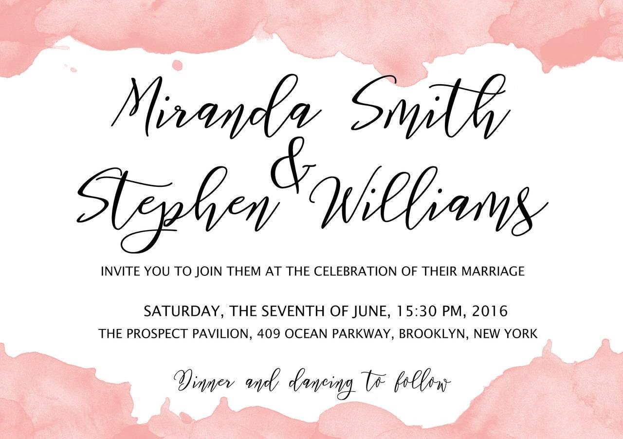 Приглашения на свадьбу - Белый фон с розовыми мазками красок