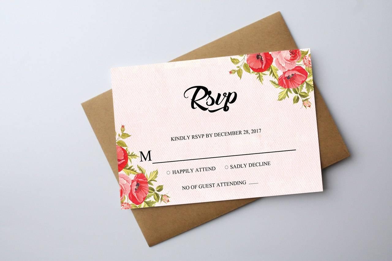 Приглашения на свадьбу - Мак и текстурный фон