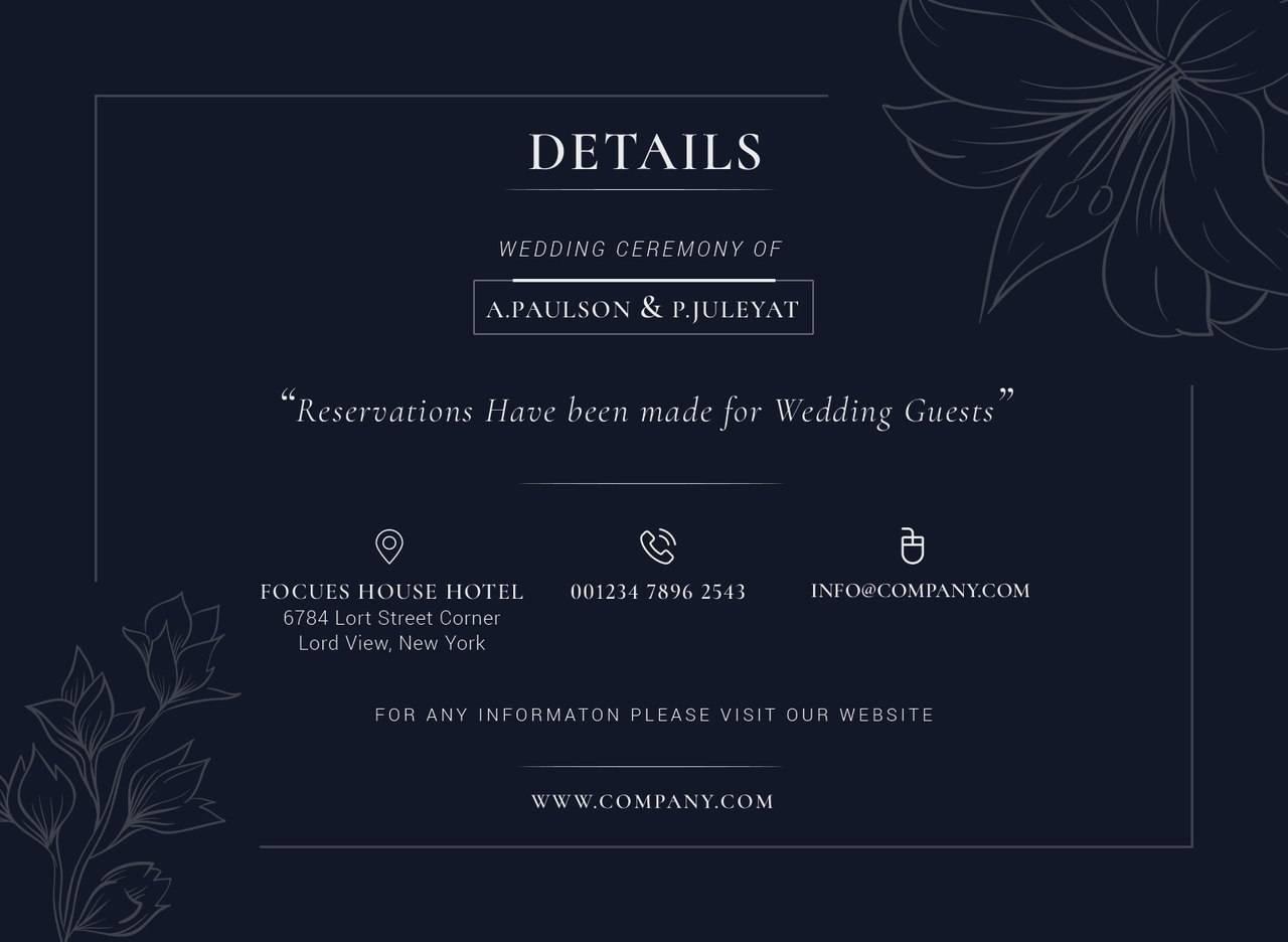 Шаблоны приглашений на свадьбу в темно синих тонах