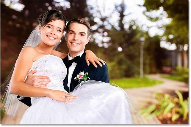 Свадебная обработка снимка - шаг 1
