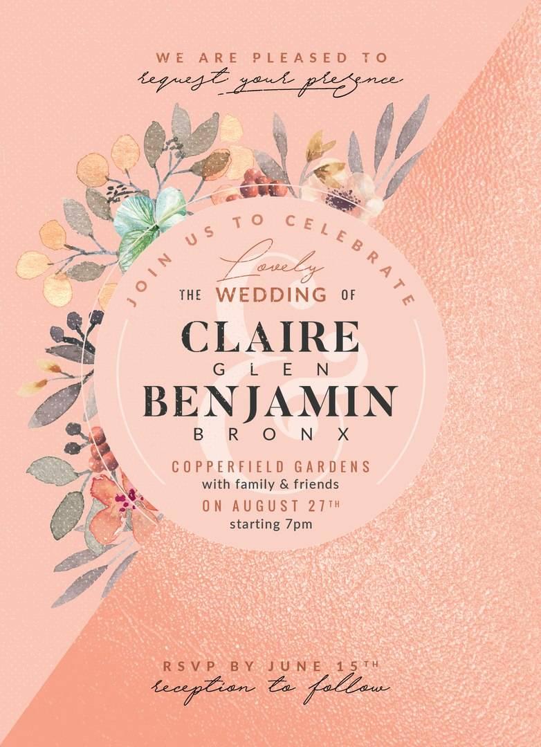 Свадебное приглашение в теплых розовых тонах