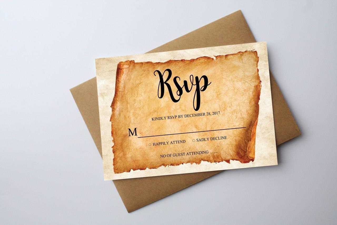 Свадебное приглашение в винтажном стиле на папирусе
