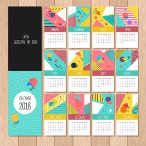 Набор шаблонов календарей 2018