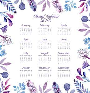 Набор шаблонов календарей на новый год 2018
