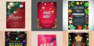 Новогодние афиши - шаблоны флаеров в psd формате