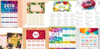 PSD Шаблоны календарей - Календарные сетки на 2018 год