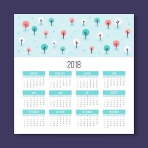 Шаблон календаря 2018 в стиле минимализма