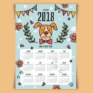 Шаблон календаря с собакой